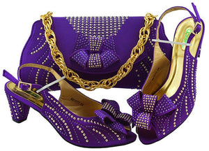 Haniye Shoe and Matching Bag (Dark Purple)