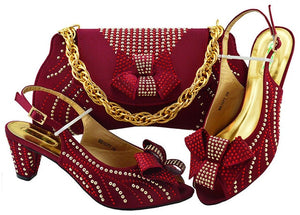 Haniye Shoe and Matching Bag (Wine)