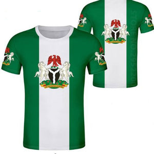 Casual T-Shirt - Nigeria Coat of Arms (Green & White)
