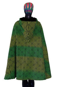 Hooded Cape : Lime Wobberelli - Women Capes - Space Tribe