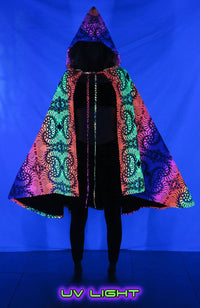 Hooded Cape : Rainbow Fractal - Women Capes - Space Tribe