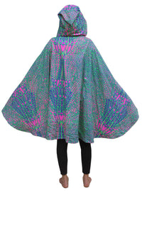 Hooded Cape : Acid Dragonfly - Women Capes - Space Tribe