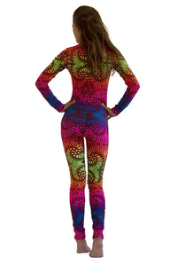 Long Sleeve Catsuit : Rainbow Fractal - Women Catsuits - Space Tribe