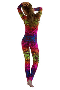 Long Sleeve Catsuit : Rainbow Fractal