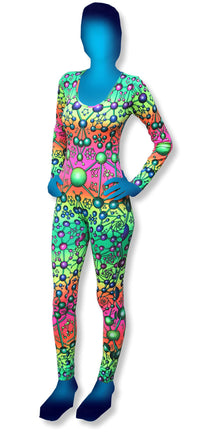 Long Sleeve Catsuit : Atomic Rainbow - Women Catsuits - Space Tribe