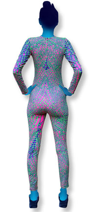 Long Sleeve Catsuit : Acid Dragonfly - Women Catsuits - Space Tribe