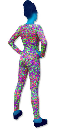 Long Sleeve Catsuit : Rainbow Mayan - Women Catsuits - Space Tribe