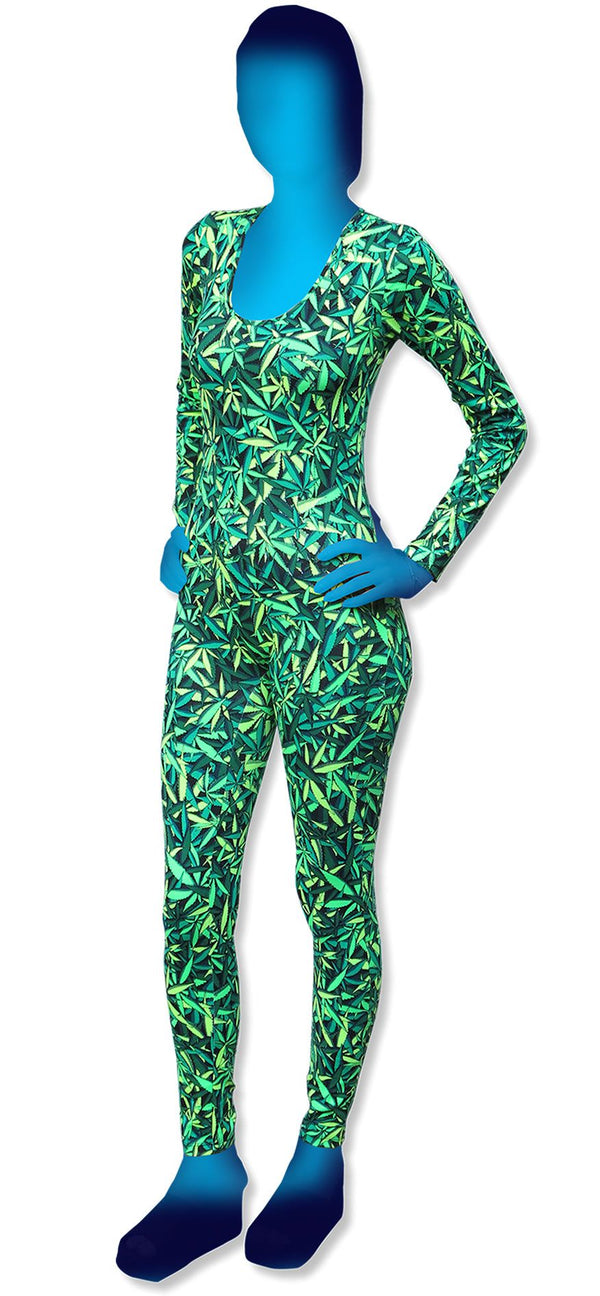 Long Sleeve Catsuit : Sea of Green Weed - Women Catsuits - Space Tribe