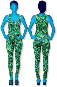 Catsuit : Sea of Green Weed - Women Catsuits - Space Tribe