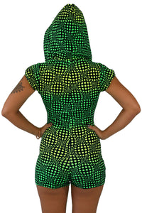 Hooded Playsuit : Lime Wobberelli - Women Catsuits - Space Tribe