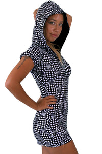 Hooded Playsuit : Black & White Wobberelli - Women Catsuits - Space Tribe