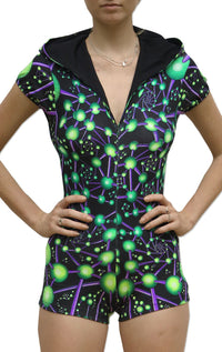 Hooded Playsuit : Atomic Alien - Women Catsuits - Space Tribe