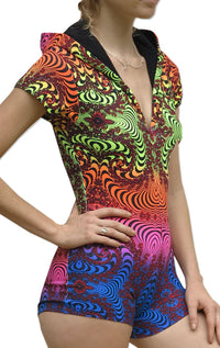 Hooded Playsuit : Rainbow Fractal - Women Catsuits - Space Tribe