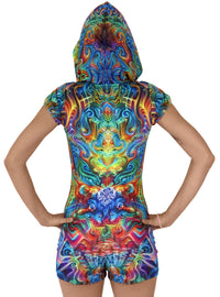 Sublime Hooded Playsuit : Holographic Altar - Women Catsuits - Space Tribe