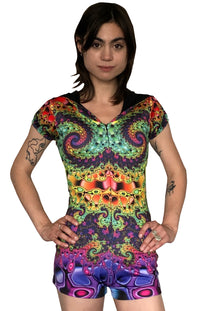Sublime Hooded Playsuit : Whirlpool Fractal - Women Catsuits - Space Tribe