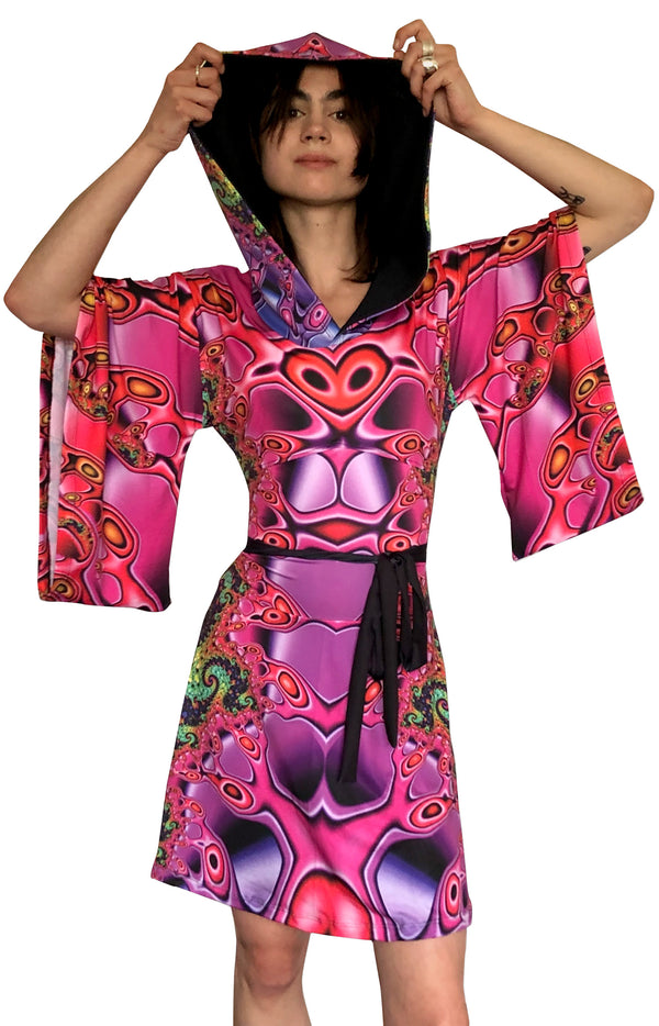 Hooded Kimono Dress : Chromatic Fractal - Women Dresses - Space Tribe