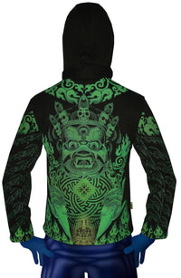 Morph Jacket Round Hood: Lime Mahakala - Men Jackets - Space Tribe