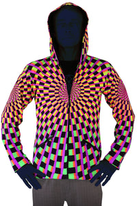 Hooded Zip Jacket : Rainbow Vertigo - Men Jackets - Space Tribe