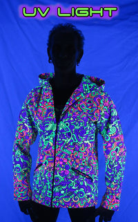 Hooded Zip Jacket : Rainbow Mayan - Men Jackets - Space Tribe