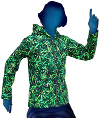 Hooded Zip Jacket : Sea of Green Weed - Men Jackets - Space Tribe