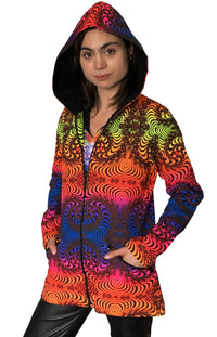 Womens Hooded Jacket : Rainbow Fractal - Women Jackets - Space Tribe