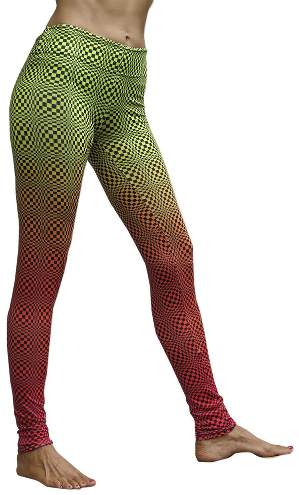 Sublime Leggings : Op-Art Wobbly Fire - Women Leggings - Space Tribe