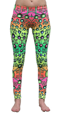Wide waistband Leggings : Atomic Rainbow - Women Leggings - Space Tribe