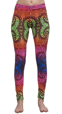 Wide waistband Leggings : Rainbow Fractal - Women Leggings - Space Tribe