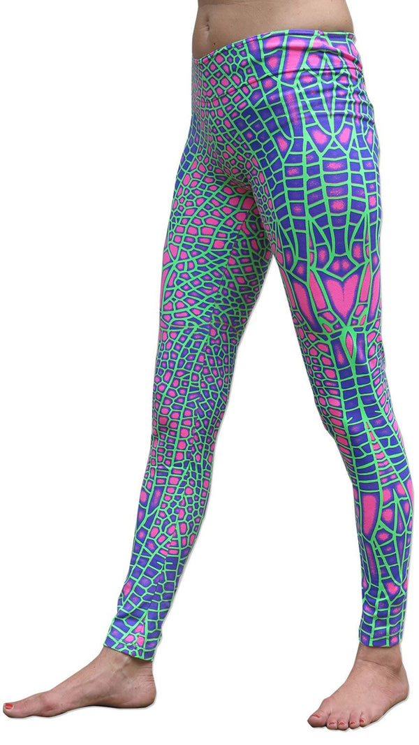 Wide waistband Leggings : Acid Dragonfly - Women Leggings - Space Tribe
