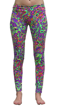 Wide waistband Leggings : Rainbow Mayan - Women Leggings - Space Tribe