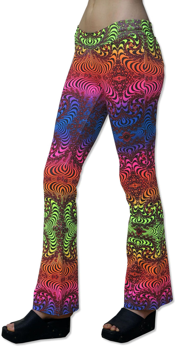 Lycra Flares : Rainbow Fractal - Women Flares - Space Tribe