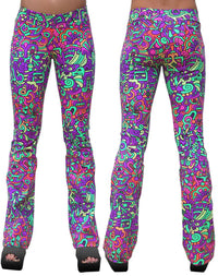 Lycra Flares : Rainbow Mayan - Women Flares - Space Tribe