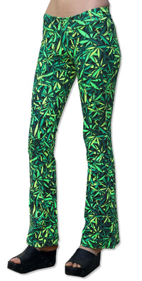 Lycra Flares : Sea of Green Weed - Women Flares - Space Tribe
