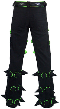 Spikey Pants : Black - UV Lime - Men Pants - Space Tribe