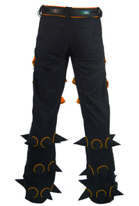 Spikey Pants : Black - UV Orange - Men Pants - Space Tribe