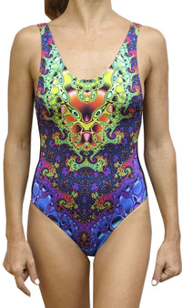 Mesh Swimsuit : Heart Fractal - Women Swimwear - Space Tribe