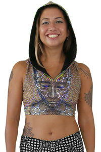 Hooded Crop Top : Micro Macro - Women Tops - Space Tribe
