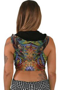 Hooded Crop Top : Primordial Presence - Women Tops - Space Tribe