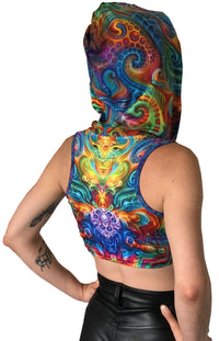 Hooded Crop Top : Holographic Altar - Women Tops - Space Tribe