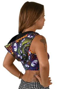 Hooded Crop Top : LSD Party - Women Tops - Space Tribe