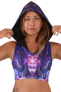 Hooded Crop Top : Violet Foxy Lady - Women Tops - Space Tribe
