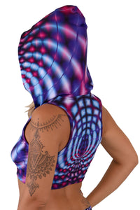 Hooded Crop Top : Violet Web - Women Tops - Space Tribe