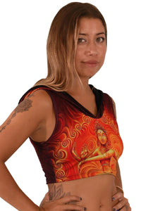 Hooded Crop Top : Nataraja Fire Dance - Women Tops - Space Tribe