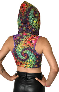 Hooded Crop Top : Whirlpool Fractal - Women Tops - Space Tribe