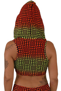 Hooded Crop Top : Fire Wobberelli - Women Tops - Space Tribe
