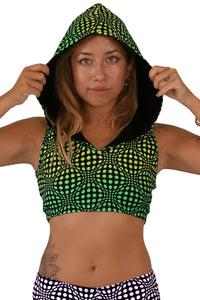 Hooded Crop Top : Lime Wobberelli - Women Tops - Space Tribe