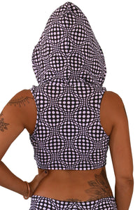 Hooded Crop Top : Black & White Wobberelli - Women Tops - Space Tribe
