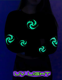 Cropped Sweat : UV Lime Triskelion - Women Tops - Space Tribe