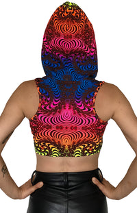 Hooded Crop Top : Rainbow Fractal - Women Tops - Space Tribe