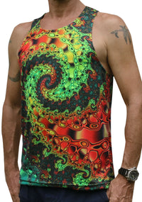 UV Sublime Singlet : Whirlpool Fractal - Men Singlets - Space Tribe